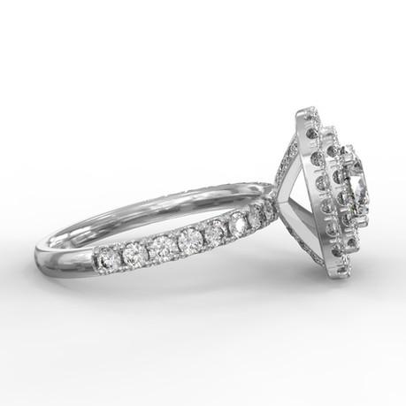 Dupla halo gyémánt gyűrű fotorealisztikus terve 3. nézet
