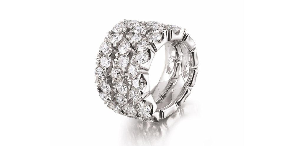 Garavelli háromsoros flexibilis 18kt fehérarany gyémánt gyűrű