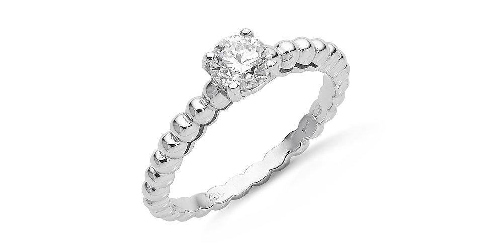 Modern eljegyzési gyémánt gyűrű bogyós gyűrűsínnel