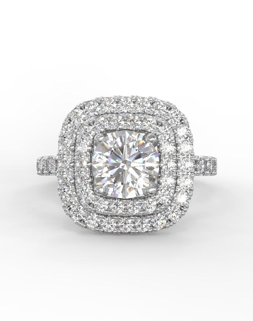 Dupla halo gyémánt gyűrű fotrealisztikus terve 1. nézet