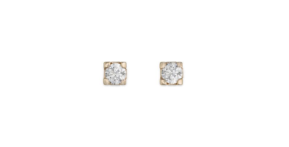 Rózsaarany bedugós szoliter gyémánt fülbevaló négykarmos foglalatban