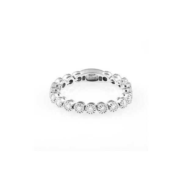 Piero Milano 18kt-os fehérarany karikagyűrű mimóza foglalatú gyémántokkal