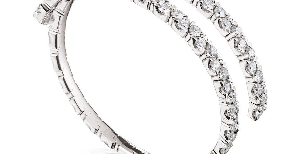 Garavelli exkluzív 18kt-os fehérarany és gyémánt duplasoros, flexibilis karkötő