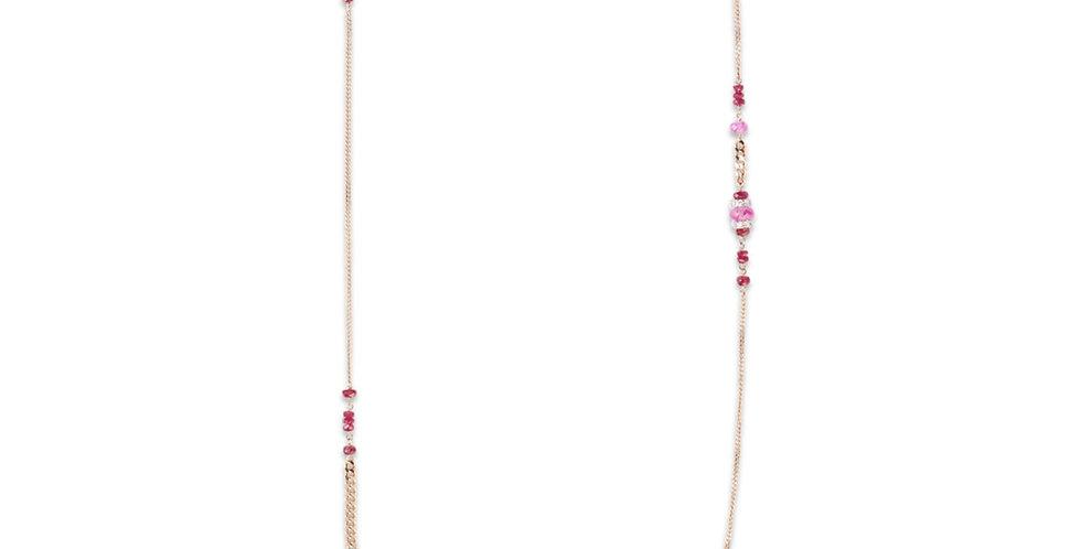 Cervera 18kt rózsaarany lánc rózsaszín zafírral és rubinnal