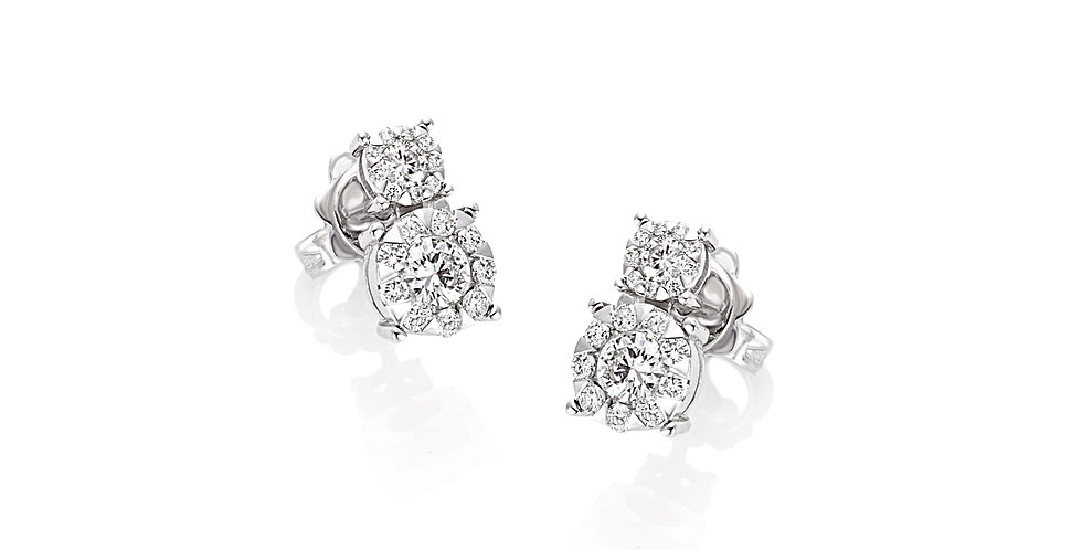 Piero Milano stekkeres dupla gyémánt fülbevaló fehérarany foglalattal