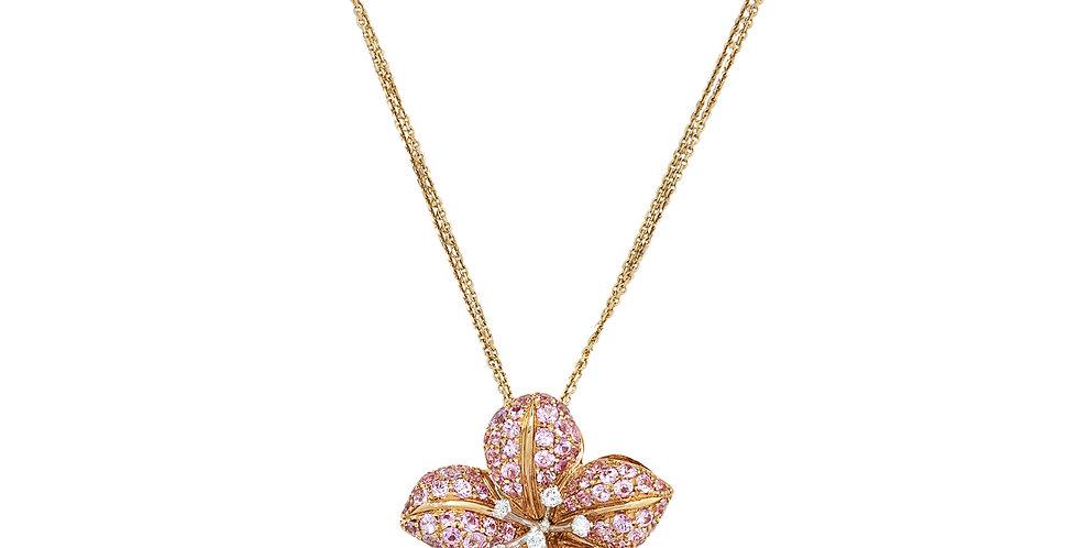 Garavelli rózsaarany nyaklánc virág formájú rózsaszín zafír és gyémánt medállal