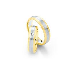 Sárgaarany jegygyűrűpár fehérarany betéttel és gyémánttal