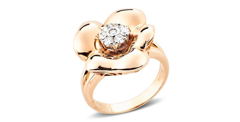 Garavelli 18kt-os rózsaarany virág gyűrű gyémánt díszítéssel a közepén
