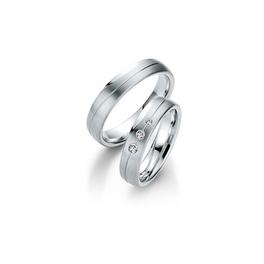 Fehérarany matt jegygyűrűpár középen véséssel, 3db gyémánttal