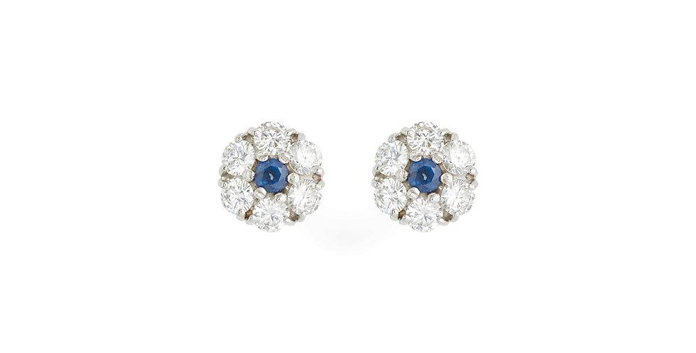 Garavelli fehérarany bedugós fülbevaló gyémánt és kék zafír drágakövekkel