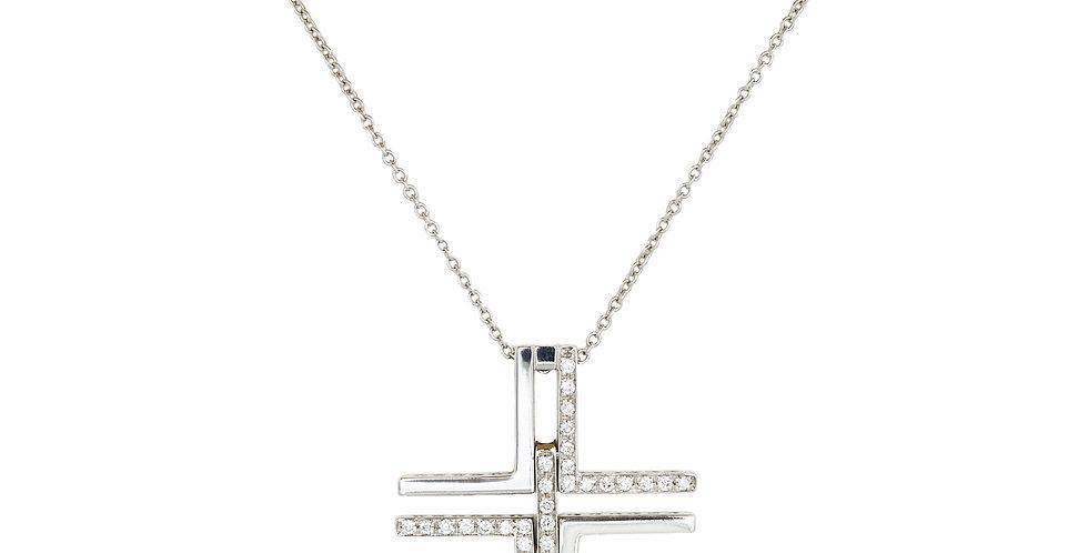 Garavelli 18kt-os fehérarany nyaklánc modern gyémántos kereszt medállal