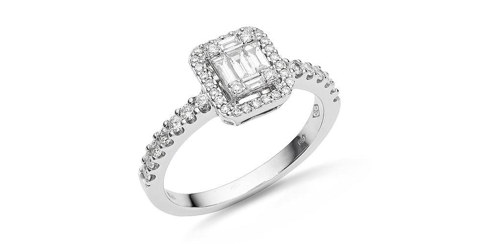 """Fehérarany """"invisible"""" foglalatos bagett gyémánt gyűrű"""