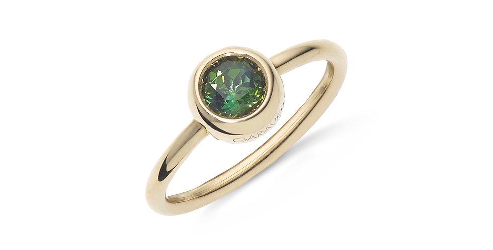 Garavelli sárgaarany, button foglalatos zöld turmalin gyűrű