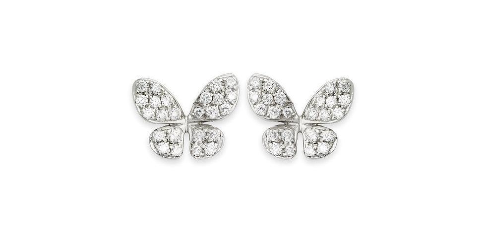 Piero Milano 18kt-os fehérarany pillangó fülbevaló pavé foglalatú gyémántokkal