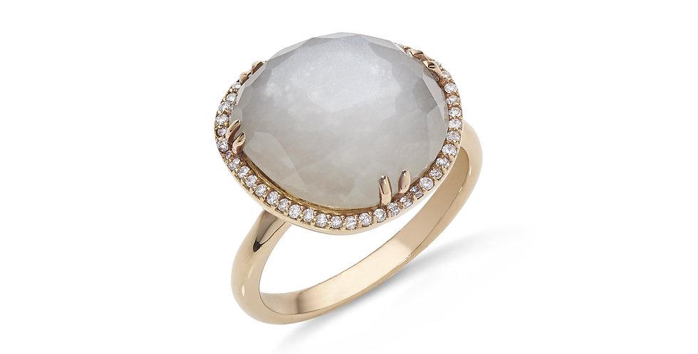 Rózsaarany kvarc dublett gyűrű gyémántokkal