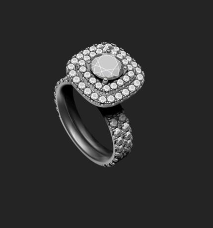 Dupla halo gyémánt gyűrű 3D terve 4. nézet