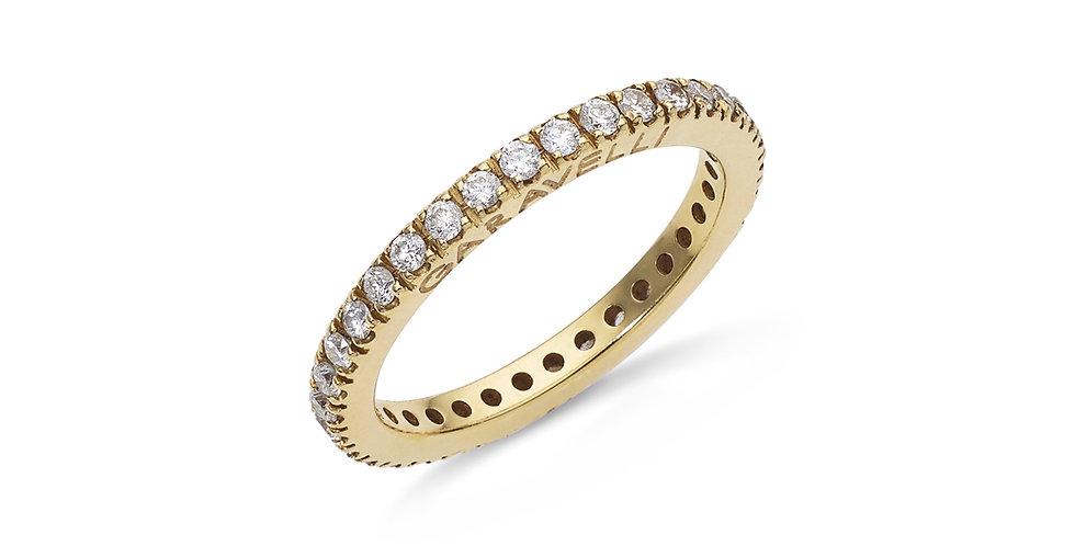 """Garavelli sárgaarany, körben gyémántos """"eternity"""" gyűrű"""