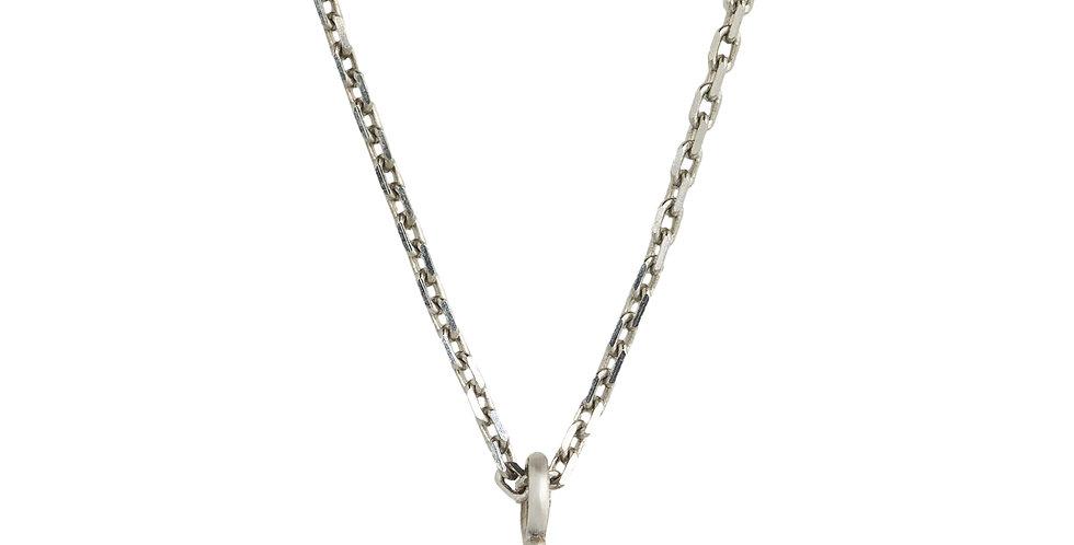 Fehérarany nyaklánc 0,12 ct gyémánt medállal négykarmos foglalatban