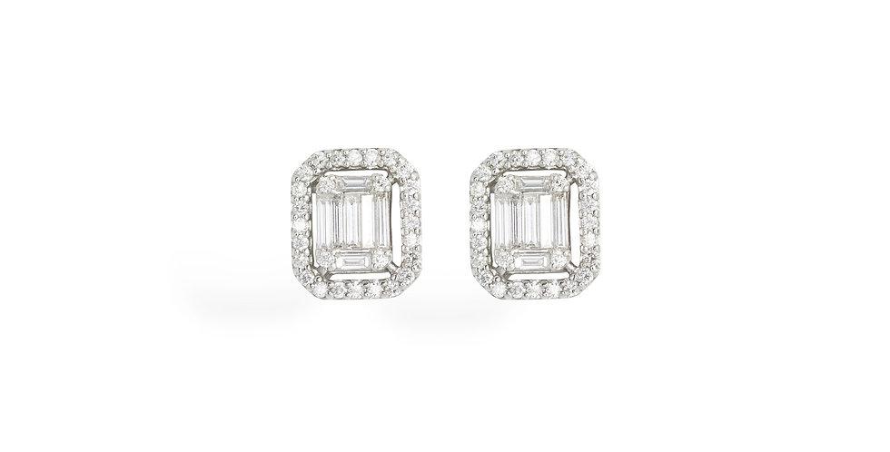 """Fehérarany szögletes """"halo"""" fülbevaló bagett és briliáns csiszolású gyémántokkal"""