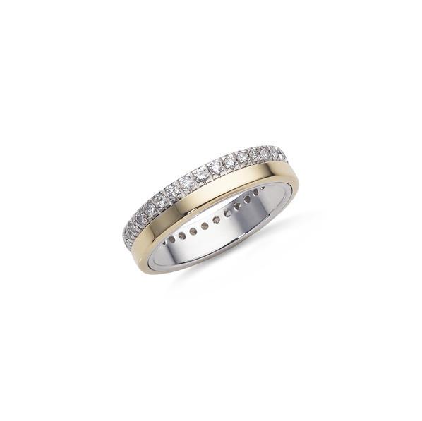 Garavelli sárgaarany dupla karikagyűrű gyémántokkal