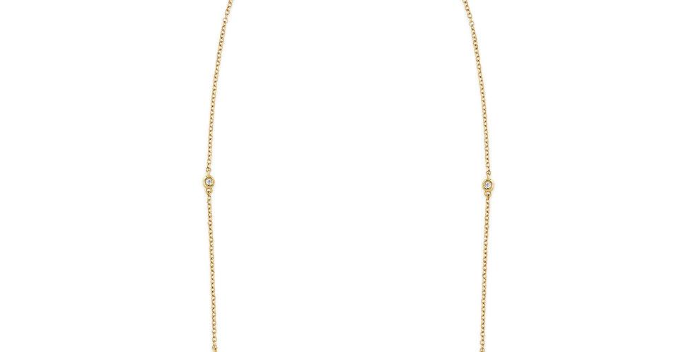Rózsaarany nyaklánc öt darab gyémánttal ékesítve
