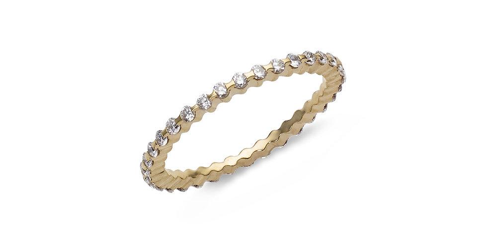 """Garavelli sárgaarany """"eternity"""" körben köves vékony gyémánt gyűrű"""