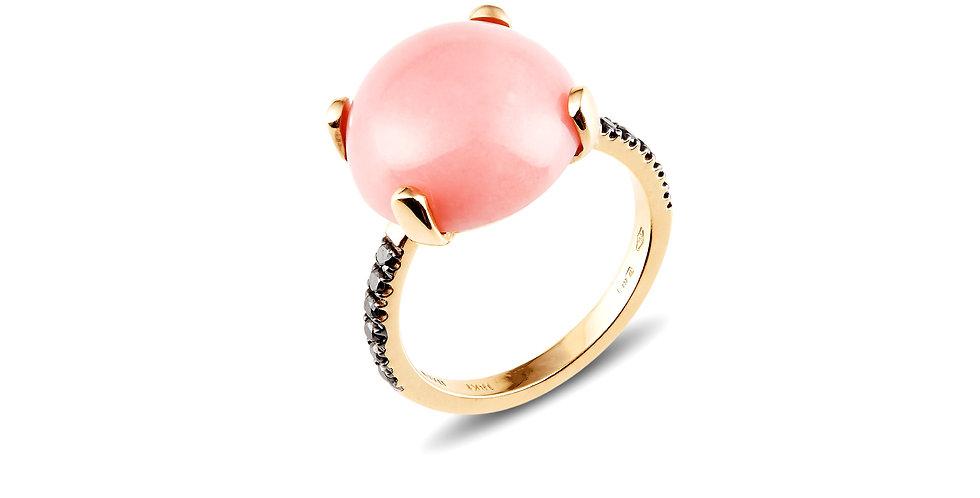 Garavelli 18kt rózsaarany gyűrű rózsaszín opállal és fekete gyémántokkal