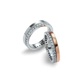 Garavelli 18kt fehér- és rozéarany dupla karikagyűrűpár gyémántokkal