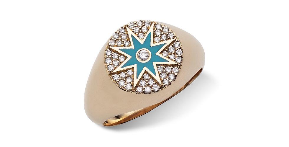 Rózsaarany pecsétgyűrű gyémántokkal és tűzzománccal