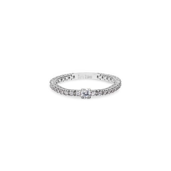 Piero Milano flexibilis karikagyűrű 18kt-os fehéraranyból, fehér gyémántokkal és center gyémánttal