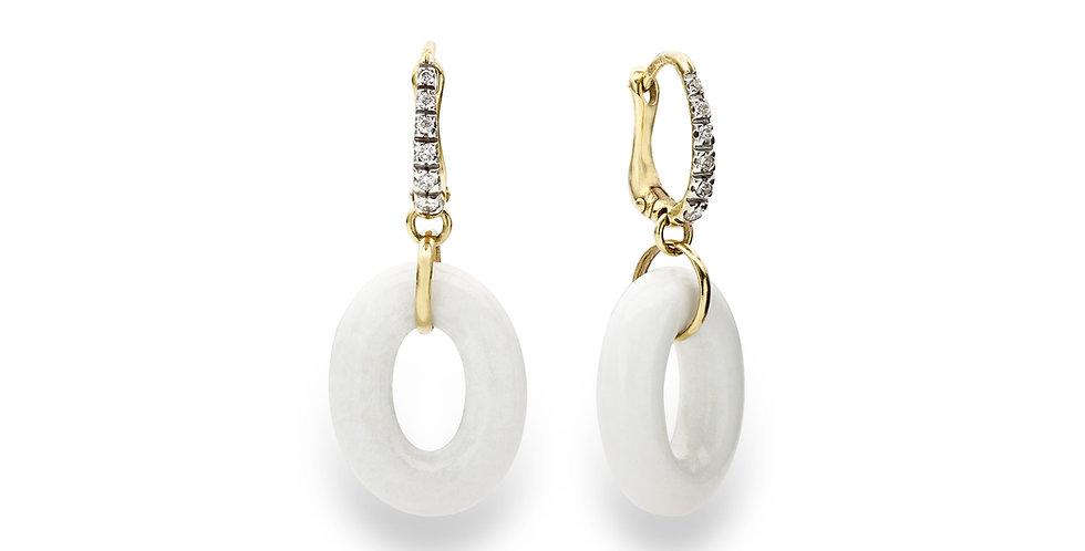 Nanis sárgaarany fülbevaló gyémánttal és fehér acháttal