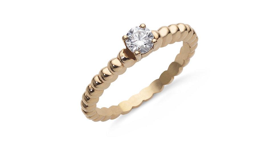 Rózsaarany szoliter gyűrű briliáns csiszolású gyémánttal