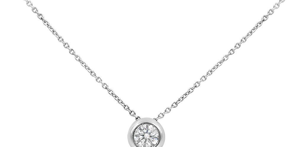 Garavelli fehérarany nyaklánc button foglalatú gyémánt medállal