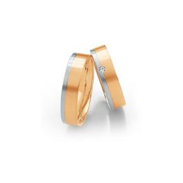 Rozéarany karikagyűrű fehérarannyal és gyémánttal
