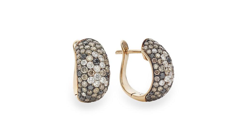 Többszínű gyémánt fülbevaló barna gyémántokkal