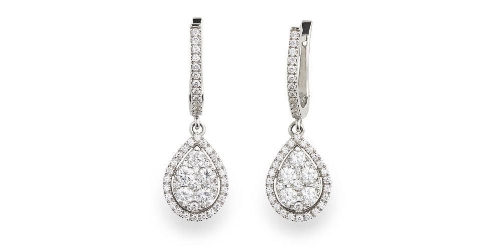 Piero Milano fehérarany francia kapcsos gyémánt fülbevaló csepp alakú függővel