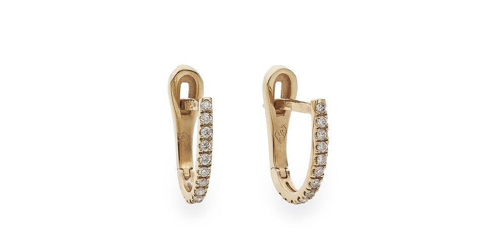 Rózsaarany francia kapcsos fülbevaló fehér gyémántokkal