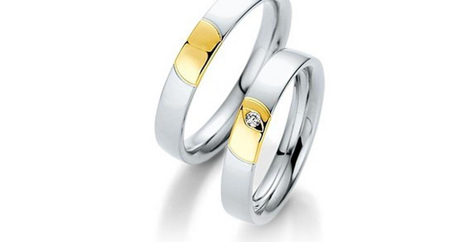Fehérarany fényes karikagyűrű sárgaarany mintázattal