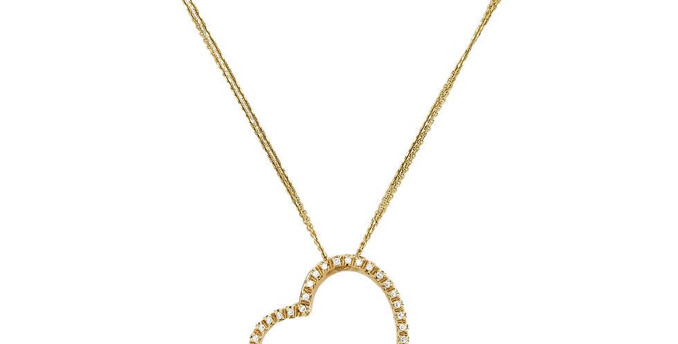 Garavelli sárgaarany ferde szív medál gyémántokkal körbefoglalva dupla láncon