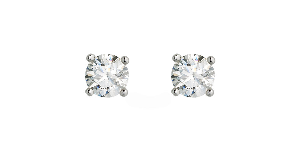 Fehérarany bedugós exkluzív szoliter gyémánt fülbevaló négykarmos foglalatban