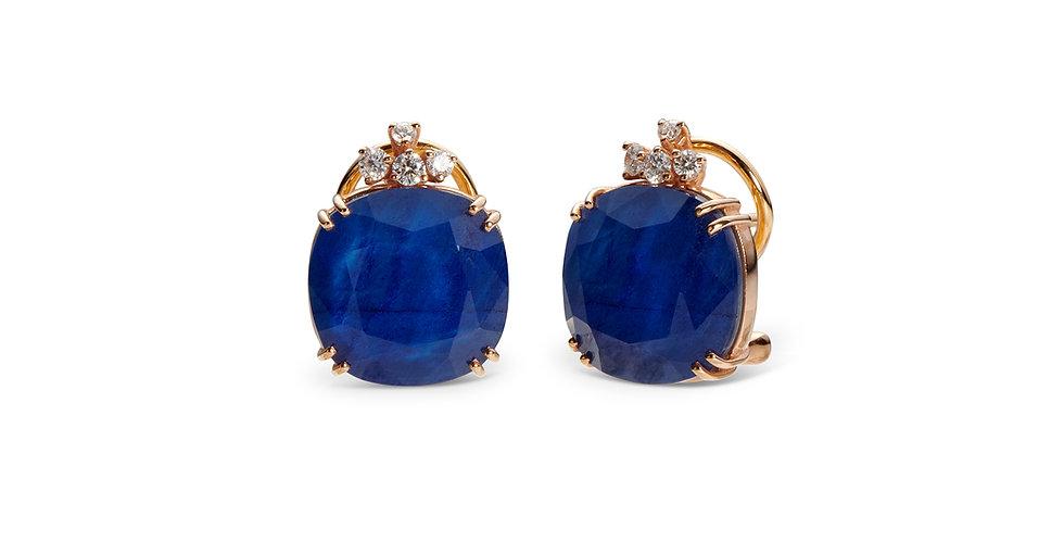 Cervera rozéarany fülbevaló zafír dublett drágakővel és pezsgőszínű gyémántokkal