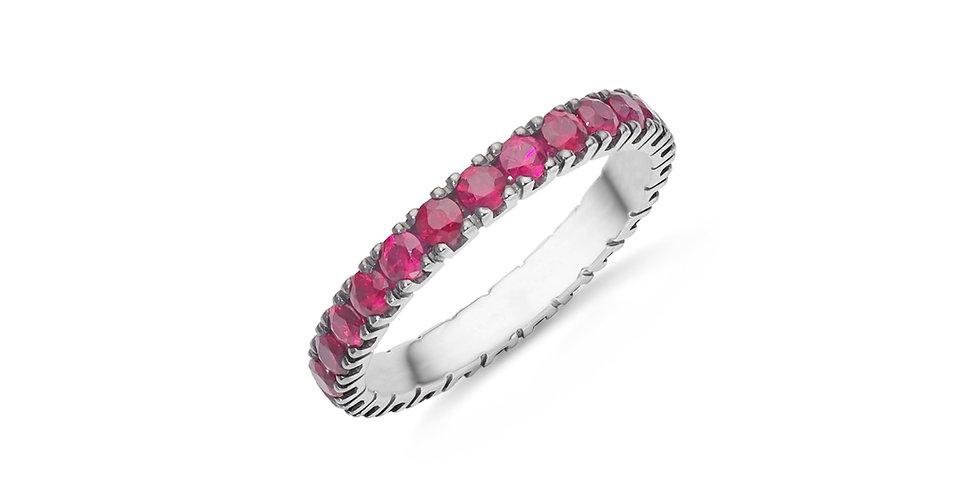 """Fehérarany és rubin """"eternity"""" körben köves gyűrű"""