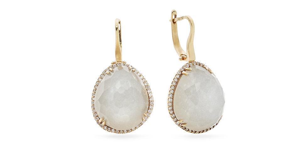 Rózsaarany patent záras kvarc és gyöngyház dublett fülbevaló gyémántokkal