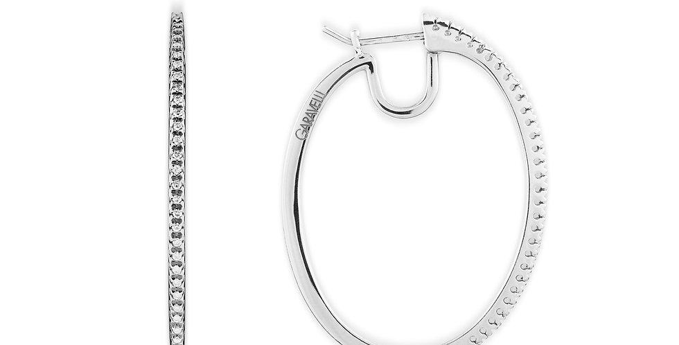 Garavelli 18kt-os fehérarany ovális fülbevaló gyémántokkal