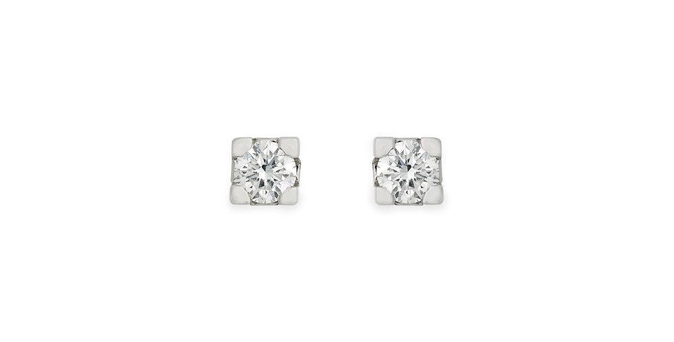 Fehérarany bedugós szoliter gyémánt fülbevaló négykarmos foglalatban