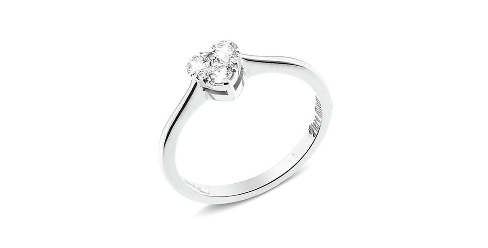 Piero Milano fehérarany szíves gyémánt gyűrű