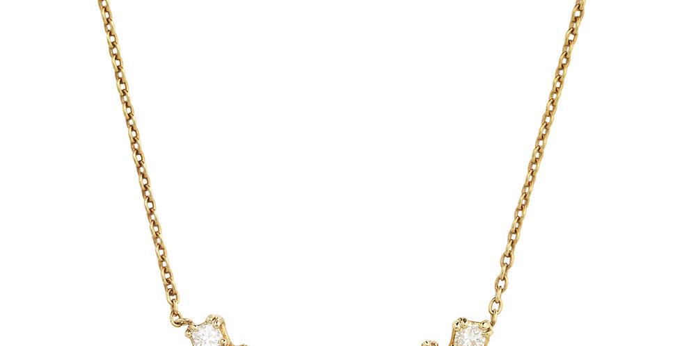 Rózsaarany nyaklánc hét cikk-cakkban foglalt gyémánttal