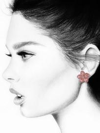 Rózsaszín zafíros virág fülbevaló modellen