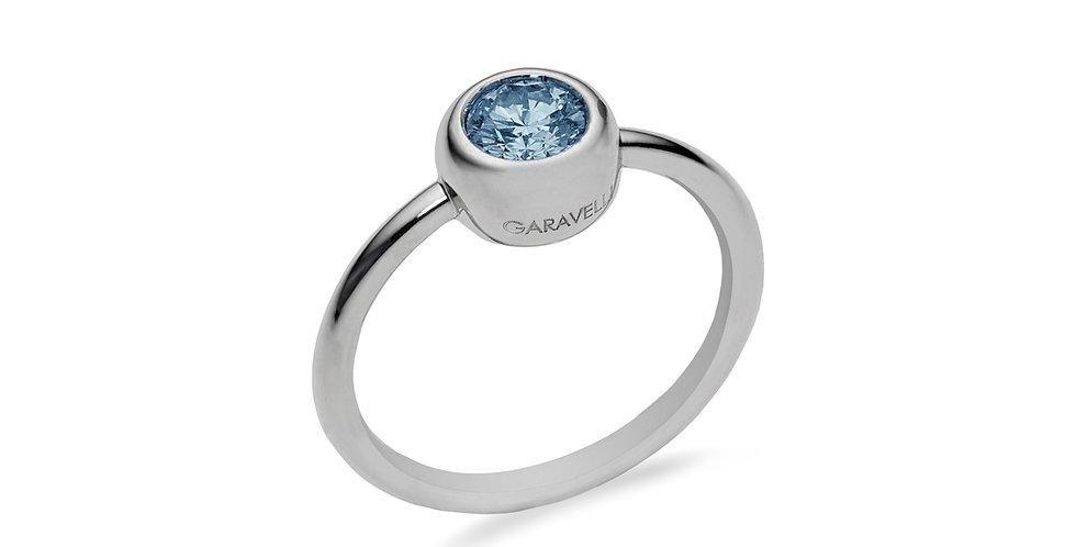 Garavelli 18kt fehérarany button foglalatos akvamarin gyűrű