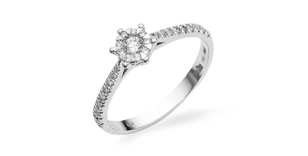 Fehérarany gyémánt gyűrű kis briliánsokkal a gyűrűsínben